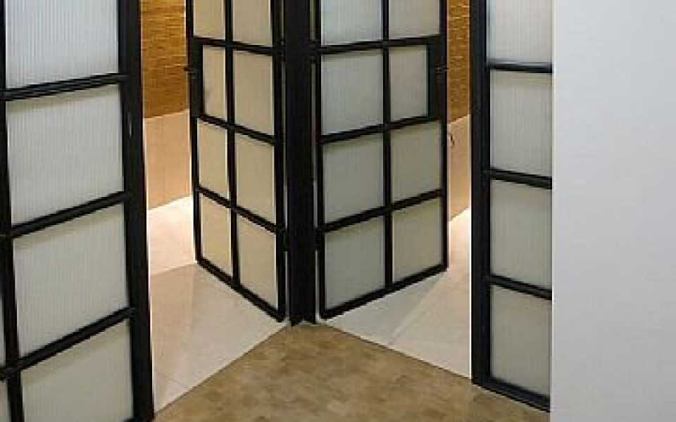 Crittal style steel and glass panelling